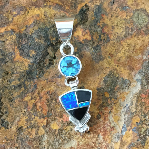David Rosales Black Beauty Inlaid Sterling Silver Pendant w/ Blue Topaz