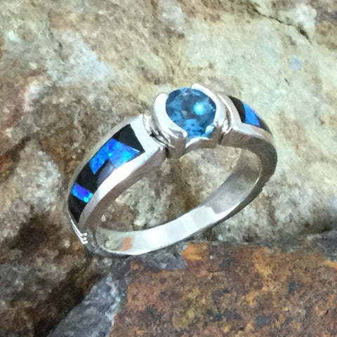 David Rosales Black Beauty Fancy Inlaid Sterling Silver Ring w/ Blue Topaz