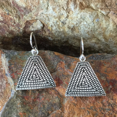 Traditional Sterling Silver Earrings by Elgin Tom