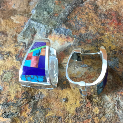 David Rosales Indian Summer Fancy Inlaid Sterling Silver Huggie Earrings