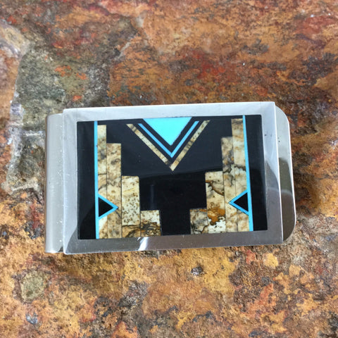 David Rosales Turquoise Creek Fancy Inlaid Sterling Silver Money Clip