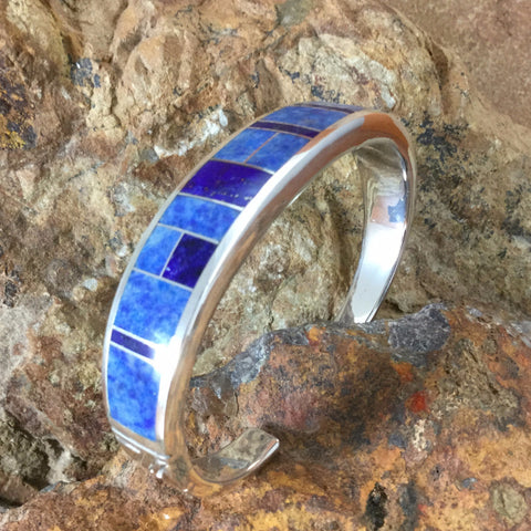David Rosales Blue Water Inlaid Sterling Silver Bracelet