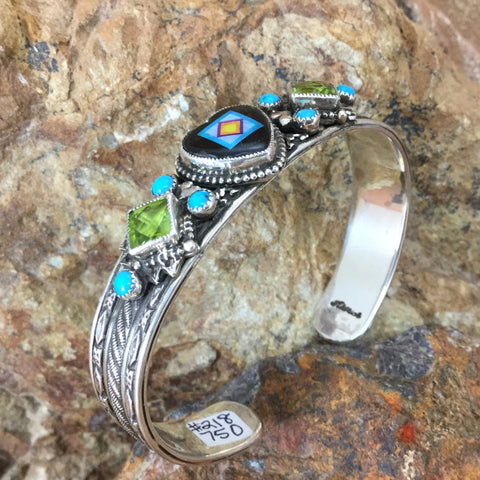 Sleeping Beauty Turquoise & Onyx Sterling Silver Heart Bracelet by Valerie Aldridge