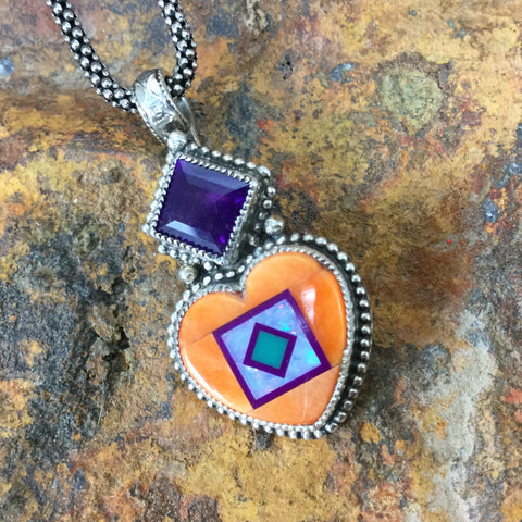 Spiny Oyster & Amethyst Sterling Silver Heart Pendant by Valerie Aldridge