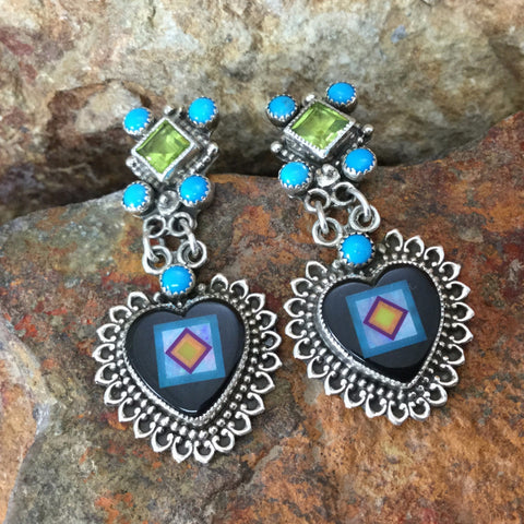 Sleeping Beauty Turquoise & Onyx Sterling Silver Heart Earrings by Valerie Aldridge