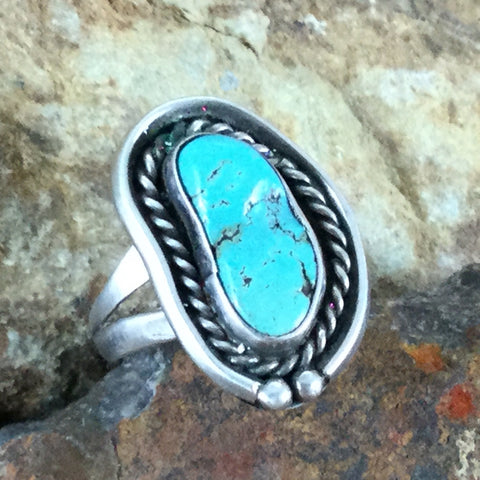 Vintage Turquoise Sterling Silver Ring Size 8 -- Estate Jewelry