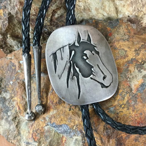 Vintage Hopi Sterling Silver Horse Bolo - Estate Jewelry