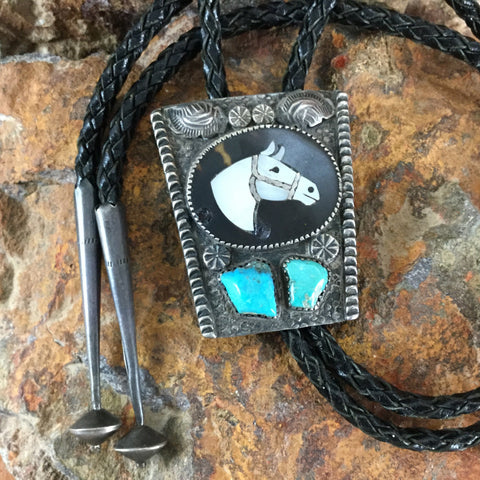 Vintage Turquoise & Mother of Pearl Silver Horse Bolo - Estate Jewelry