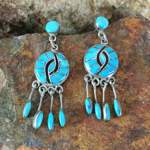 Vintage Zuni Inlaid Turquoise Silver Earrings by Ellen Quandelacy --  Estate Jewelry