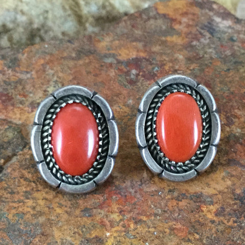 Vintage Sterling Silver Coral Earrings by Mary Marie Yazzie -- Estate Jewelry