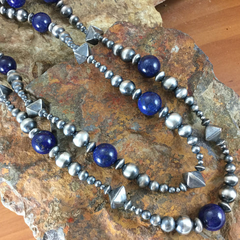"72"" Single Strand Lapis and Sterling Silver Oxidized Beaded Necklace"