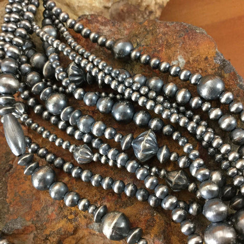 "20"" Eleven Strand Oxidized Sterling Silver Beaded Necklace"