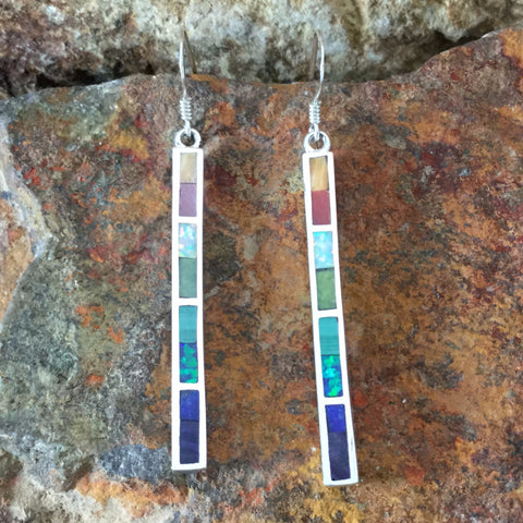 Rainbow Inlaid Sterling Silver Earrings by Melanie Lente
