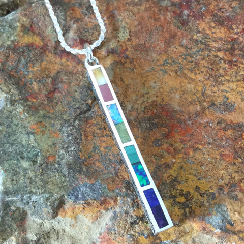 Rainbow Inlaid Sterling Silver Pendant by Melanie Lente