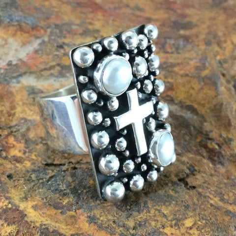Million Drops Fresh Water Pearl Sterling Silver Ring by Akee Douglas