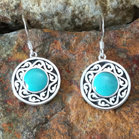 Spirit Medallion Sterling Silver Earrings w/ Sleeping Beauty by Melanie Lente