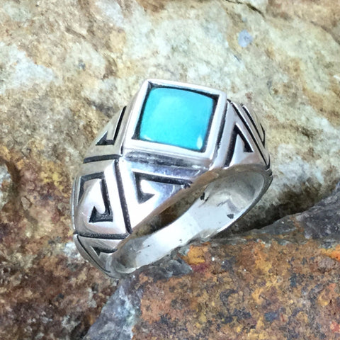 Sleeping Beauty Turquoise & Sterling Silver Ring by Melanie Lente Size 7