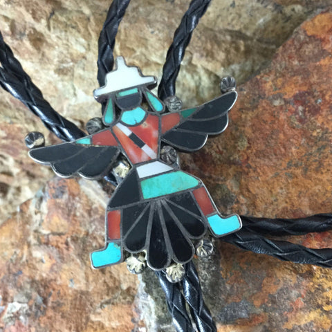 Zuni Inlaid Silver Knifewing Bolo Tie - Estate Jewelry