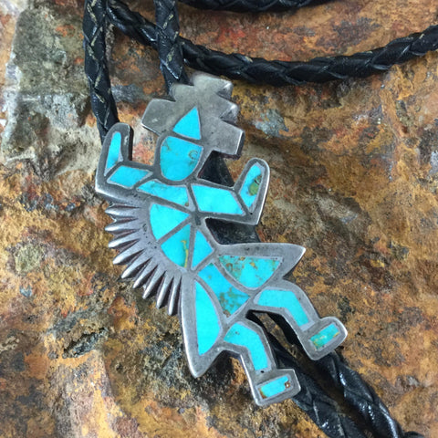 Zuni Inlaid Silver Rainbow Man Bolo Tie - Estate Jewelry