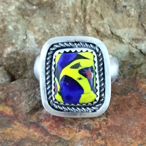 Glass Trade Bead Sterling Silver Ring by Martha Willeto - Adjustable
