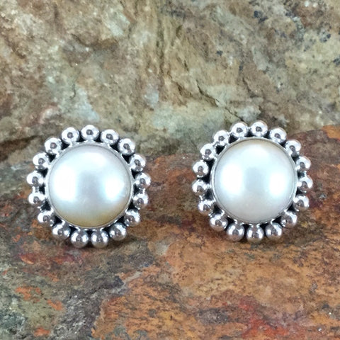 Pearl & Sterling Silver Earrings by Artie Yellowhorse