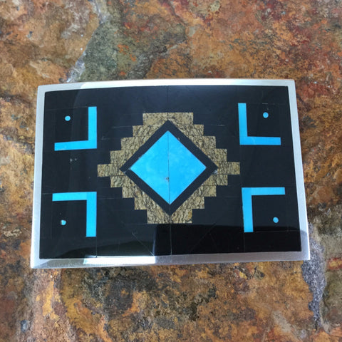 David Rosales Turquoise Creek Inlaid Sterling Silver Belt Buckle
