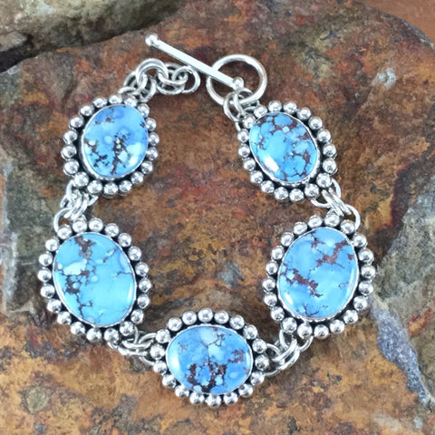 Golden Hill Turquoise Sterling Silver Bracelet Links by Artie Yellowhorse