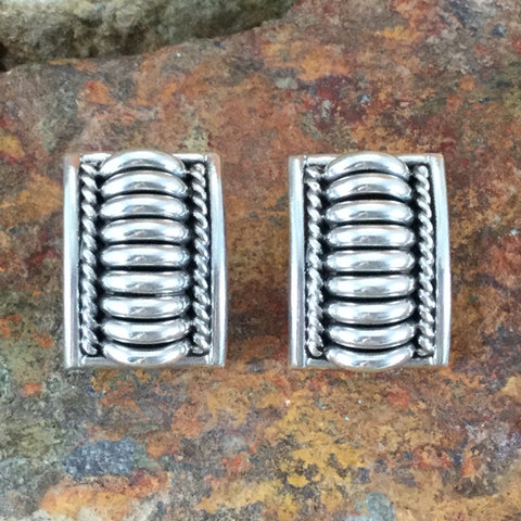 Traditional Sterling Silver Earrings by Tom Charlie