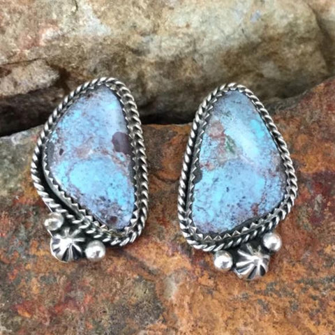 Bisbee Turquoise Sterling Silver Earrings by Archie Granado-Negro