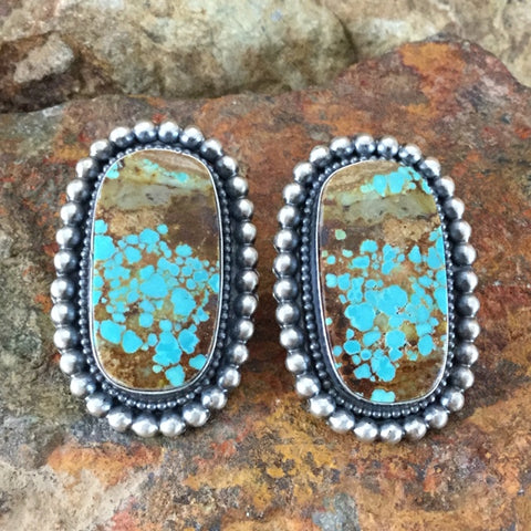 Number 8 Turquoise Sterling Silver Earrings by Readda Begay