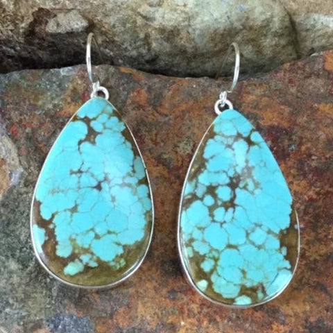 Number 8 Turquoise Sterling Silver Earrings