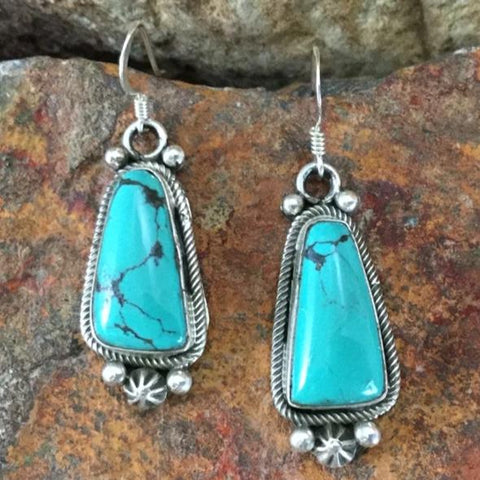 Kingman Turquoise Sterling Silver Earrings by Richard Tom