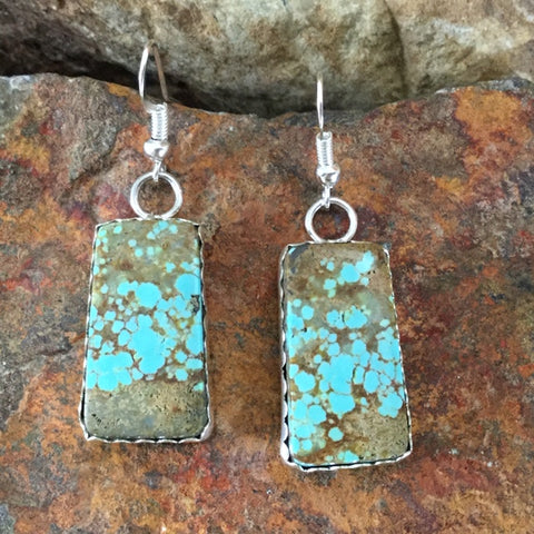 Number 8 Turquoise Sterling Silver Earrings by Leslie Nez
