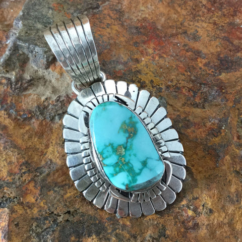 Carico Lake Turquoise Sterling Silver Pendant by L Jeer