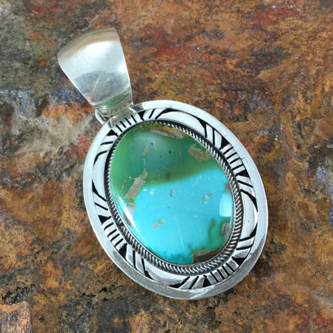 Royston Turquoise Sterling Silver Pendant by Gary Spencer