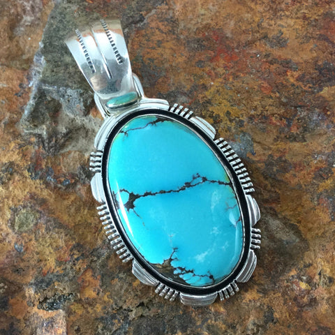 Royston Turquoise Sterling Silver Pendant by Morris Begay