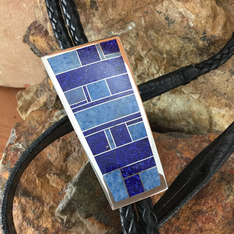 David Rosales Blue Water Inlaid Sterling Silver Bolo Tie