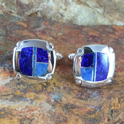 David Rosales Blue Water Inlaid Sterling Silver Cuff Links