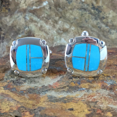 David Rosaales Arizona Blue Inlaid Sterling Silver Cuff Links