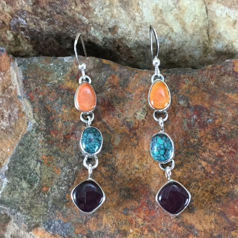 Orange & Purple Spiny Oyster & Turquoise Sterling Silver Earrings by Rose Sandoval