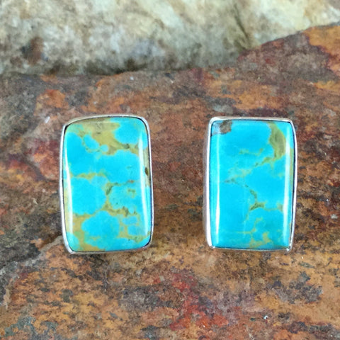 Kingman Turquoise Sterling Silver Earrings by Elvira Chavez