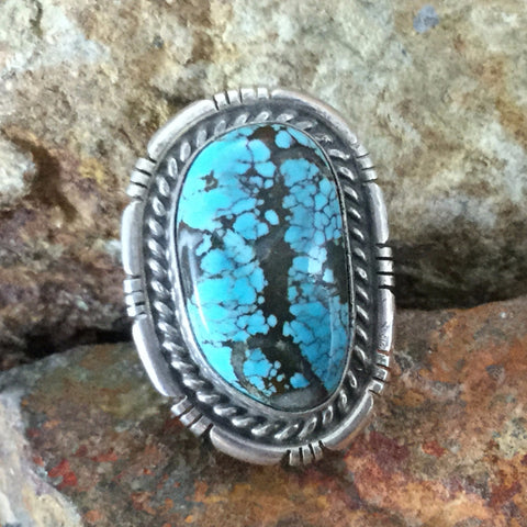 Number 8 Turquoise Sterling Silver Ring SIZE 8