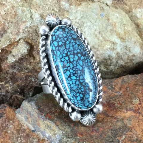 Tibetan Turquoise & Sterling Silver Ring Size 5