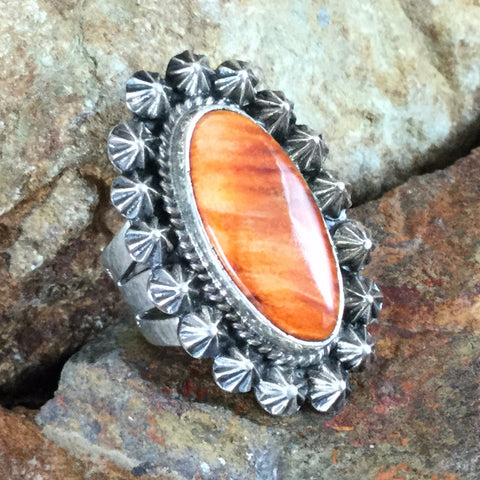 Orange Spiny Oyster Sterling Silver Ring by D. Cadman - Size 6
