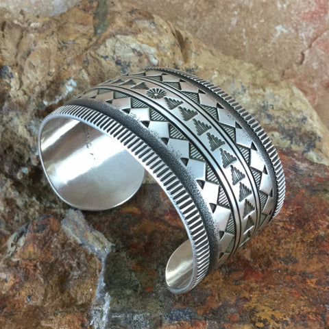 Traditional Sterling Silver Cuff Bracelet by K Nataani: Wide