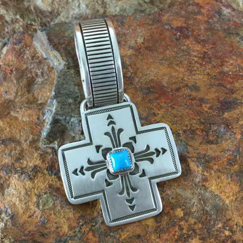 Traditional Sterling Silver and Turquoise Cross Pendant by K Nataani