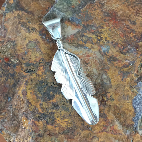 Sterling Silver Feather Pendant by Aaron Davis