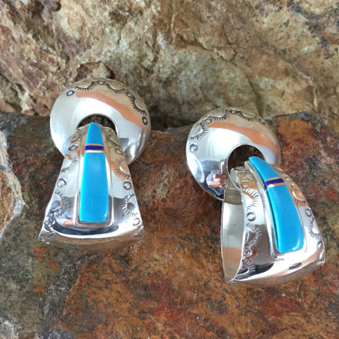 Kingman Turquoise Sterling Silver Earrings -- Large