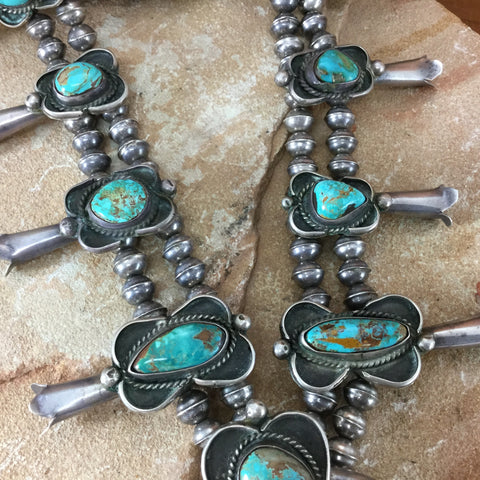 Vintage Navajo Turquoise Silver Squash Blossom Necklace -- Estate Jewelry
