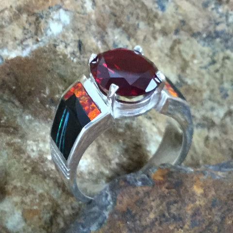 David Rosales Red Moon Inlaid Sterling Silver Ring w/ Garnet